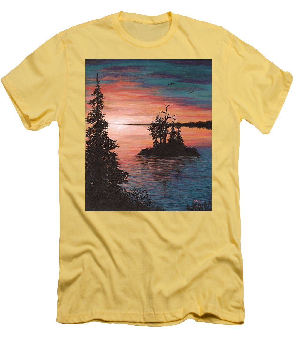 Sunset Men's T-Shirt (Athletic Fit) featuring the painting Sunset Island by Roz Eve