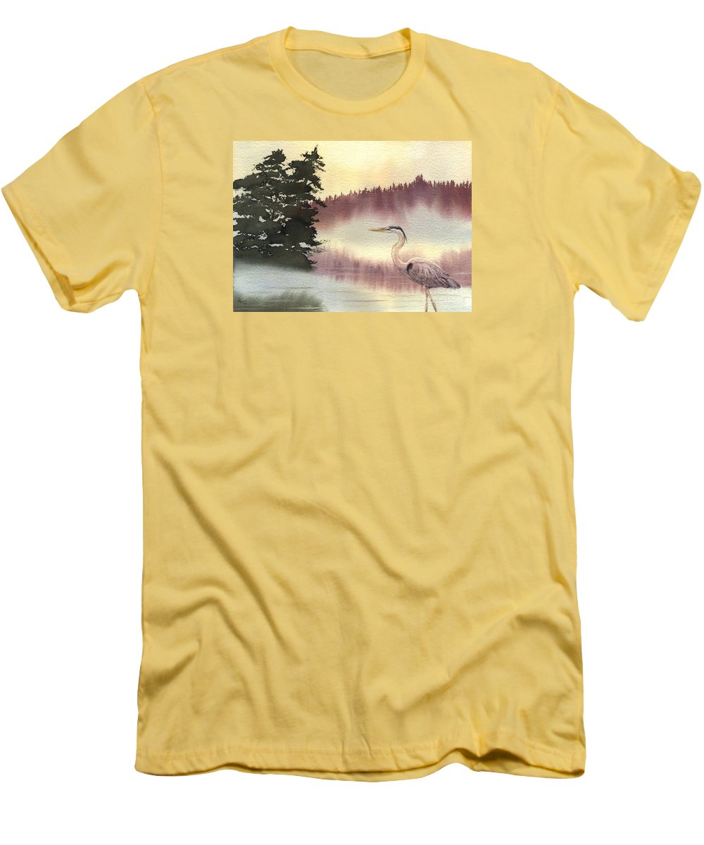 Heron Men's T-Shirt (Athletic Fit) featuring the painting Surveyor Of The Morning by Lynn Quinn