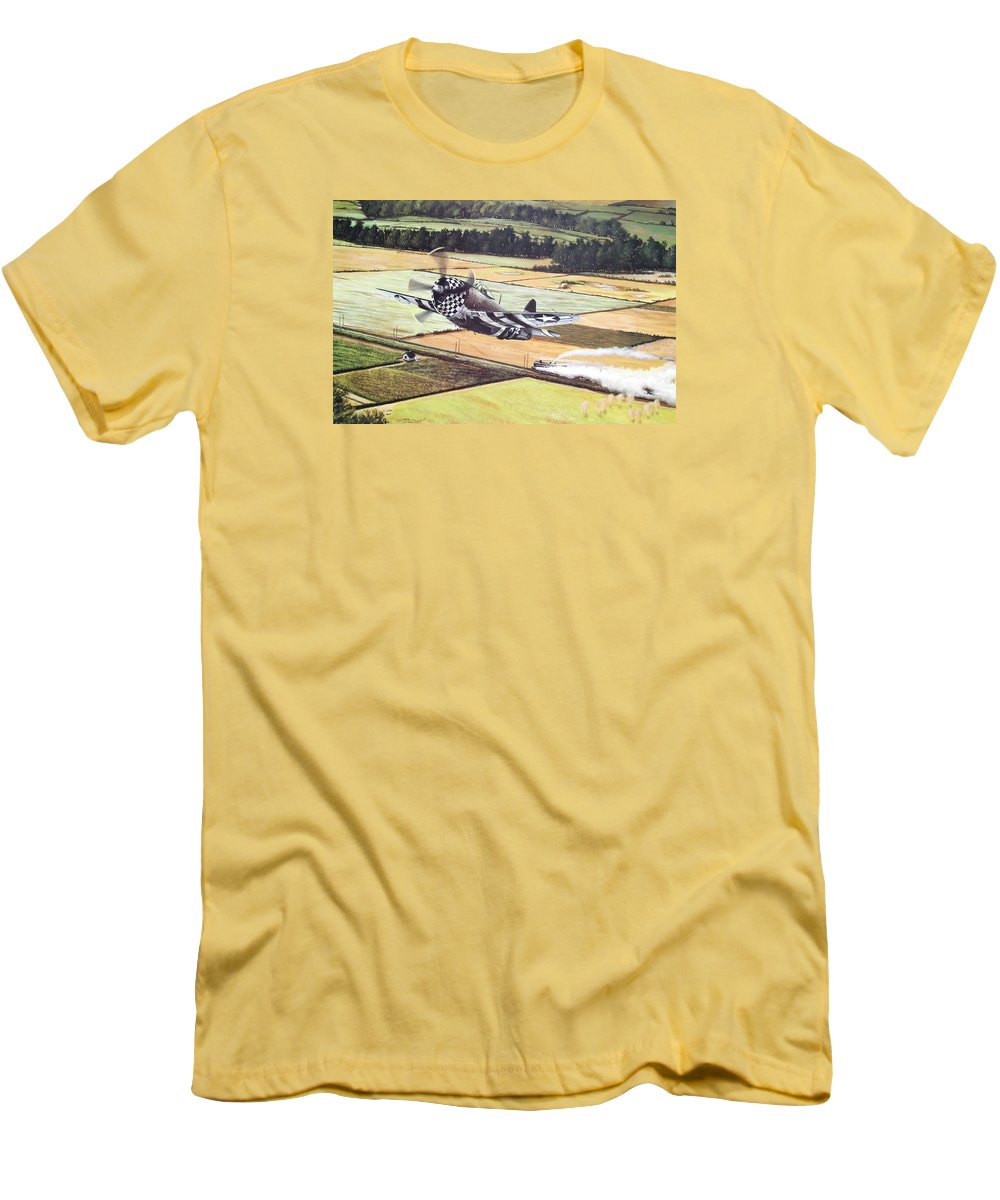 Military Men's T-Shirt (Slim Fit) featuring the painting Target Of Opportunity by Marc Stewart