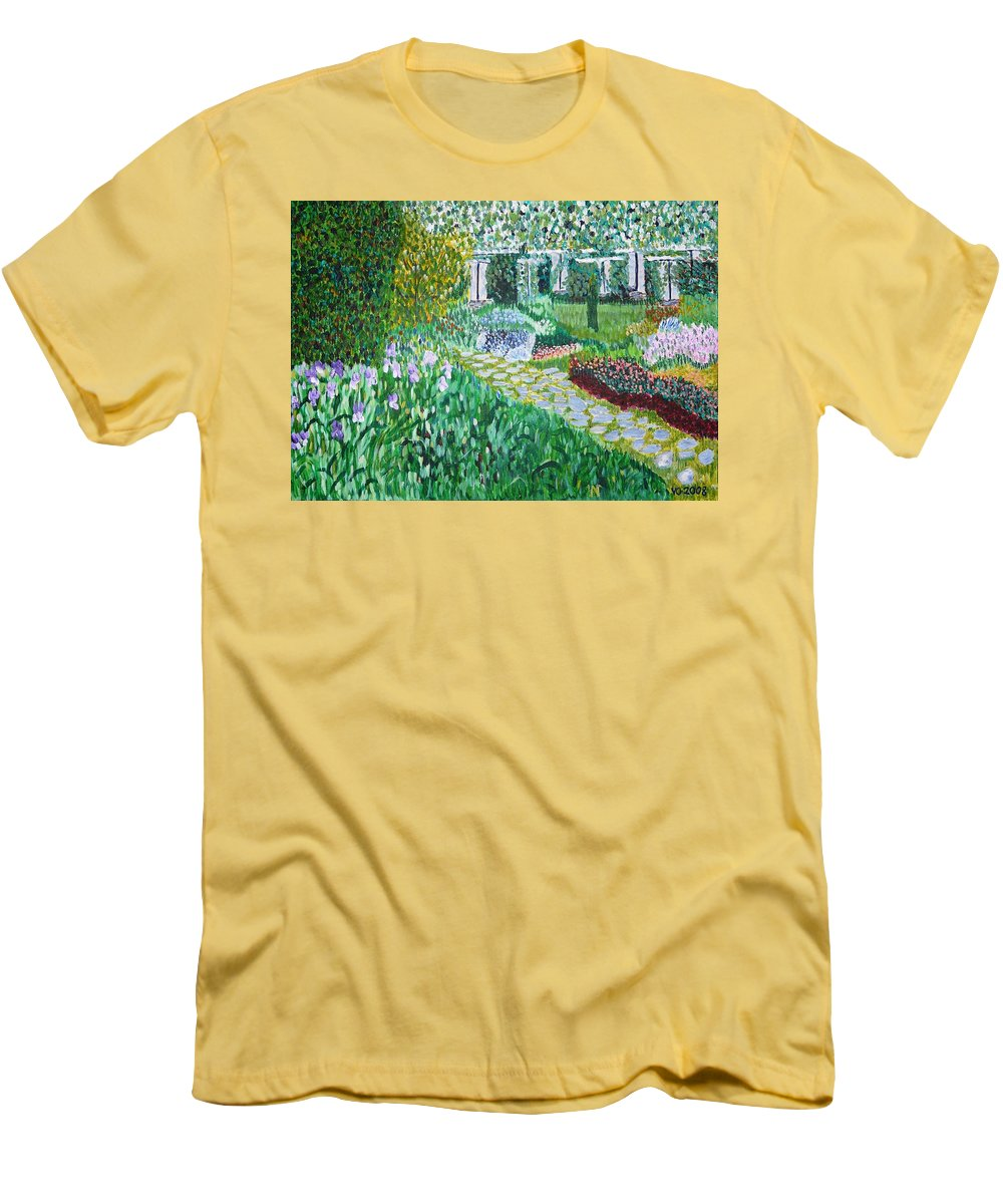 Landscape Men's T-Shirt (Athletic Fit) featuring the painting Tete D'or Park Lyon France by Valerie Ornstein