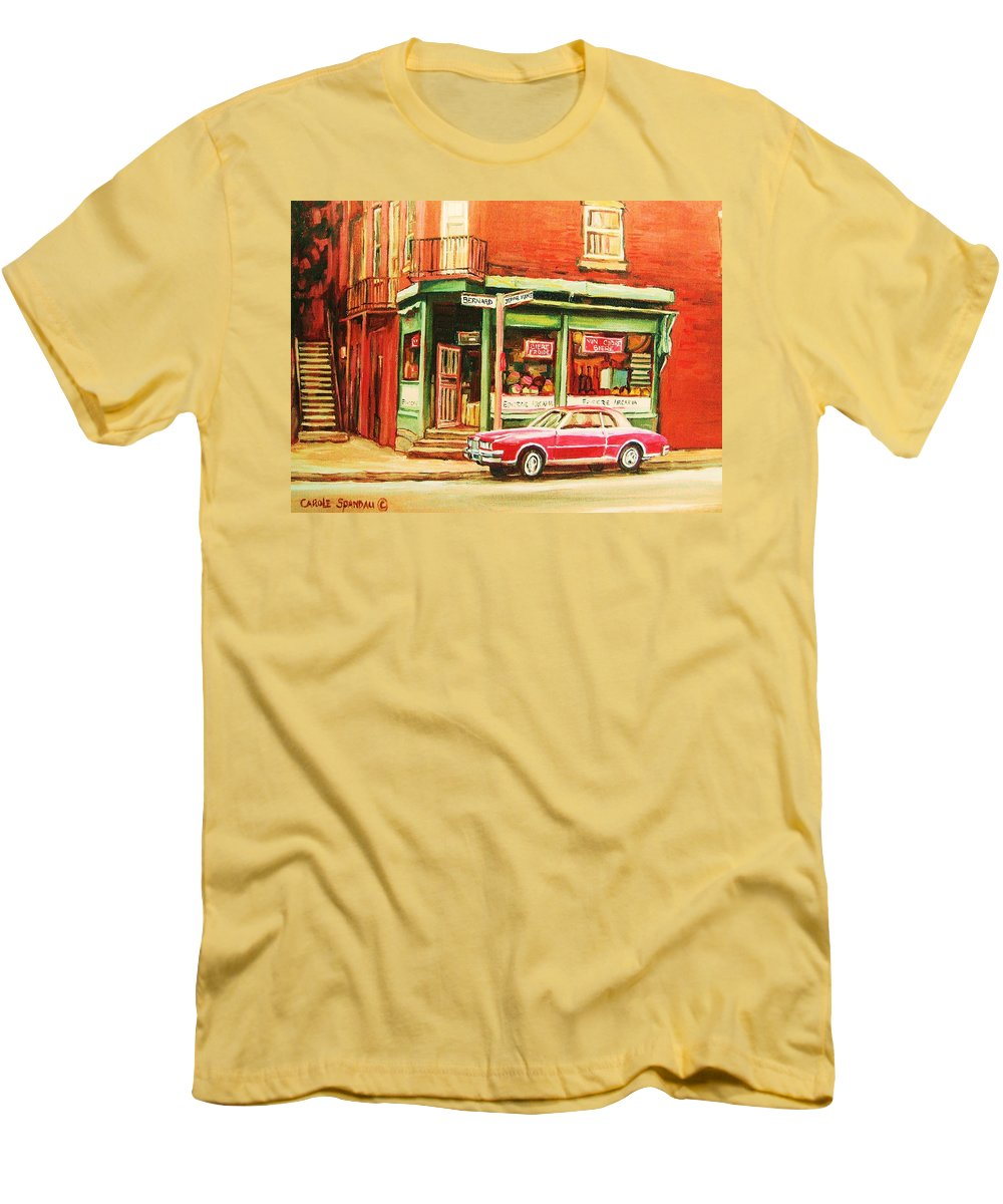 Montreal Men's T-Shirt (Athletic Fit) featuring the painting The Arcadia Five And Dime Store by Carole Spandau