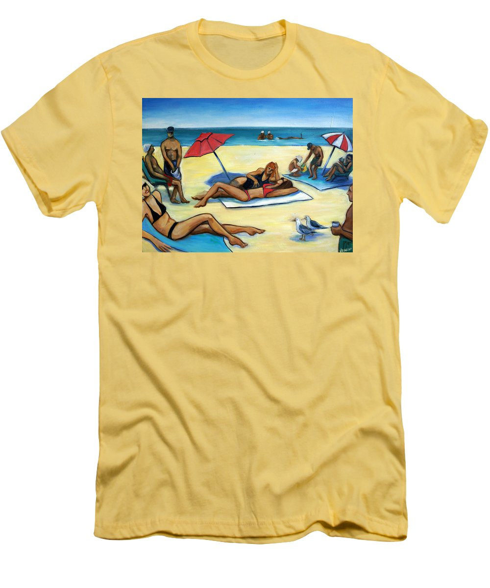 Beach Scene Men's T-Shirt (Athletic Fit) featuring the painting The Beach by Valerie Vescovi