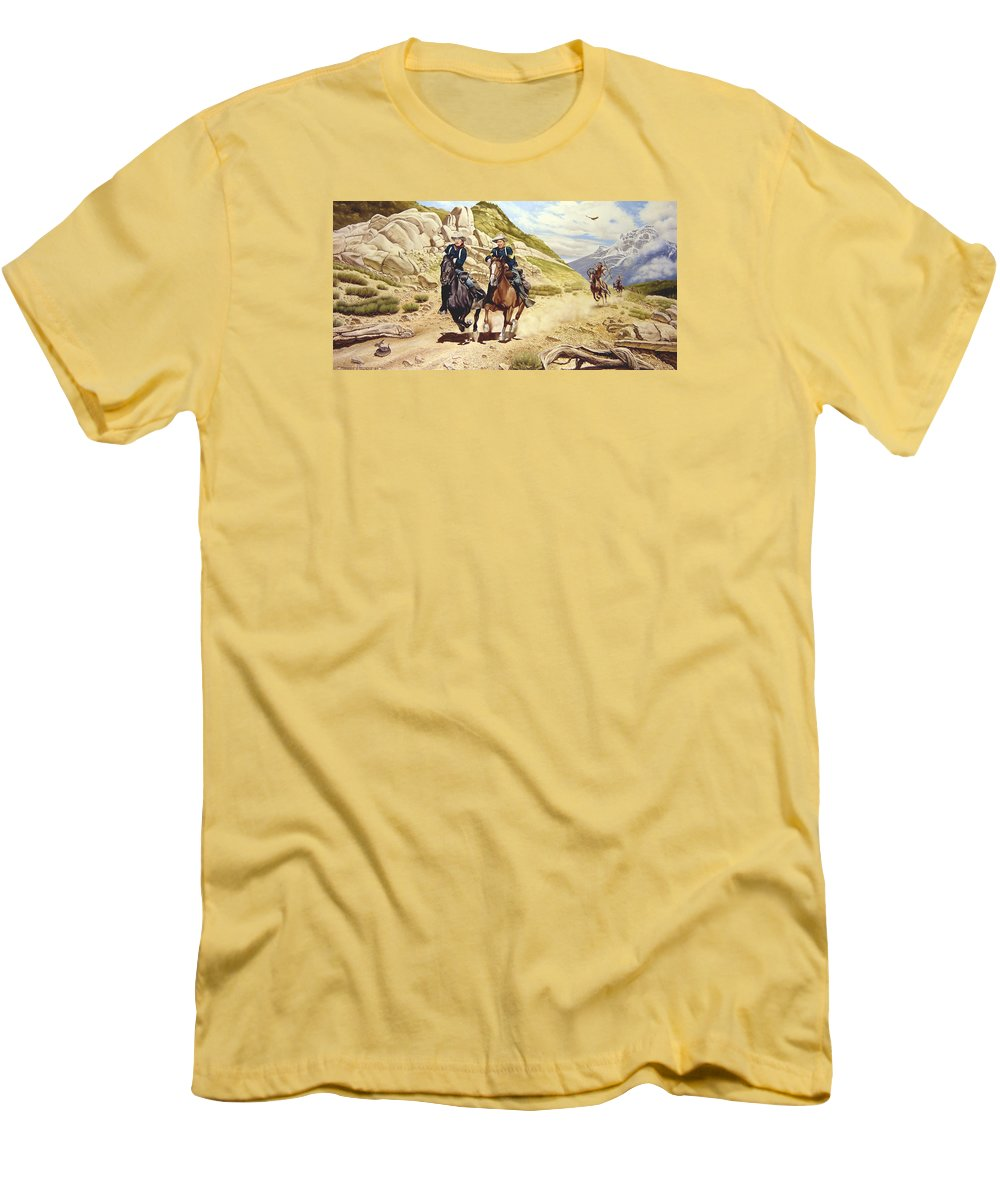 Western Men's T-Shirt (Athletic Fit) featuring the painting The Chase by Marc Stewart