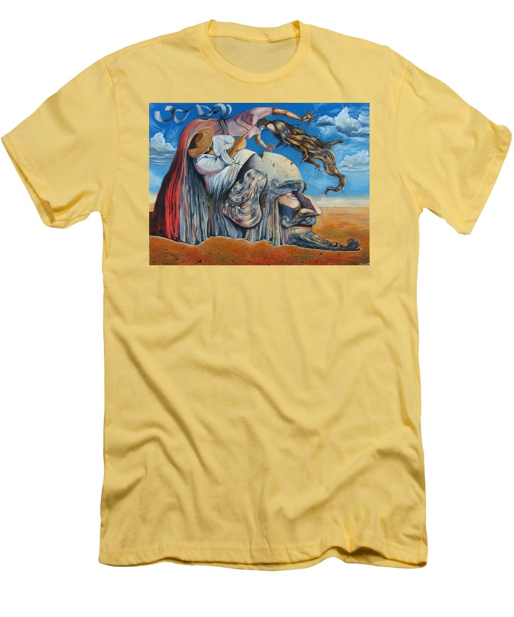 Surrealism Men's T-Shirt (Athletic Fit) featuring the painting The Eternal Obsession Of Don Quijote by Darwin Leon