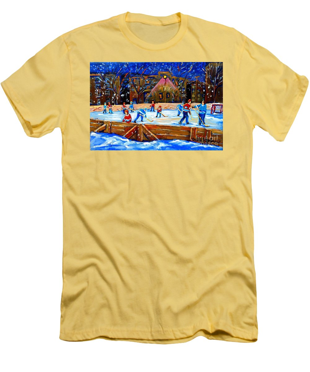 Snow Men's T-Shirt (Athletic Fit) featuring the painting The Hockey Rink by Carole Spandau