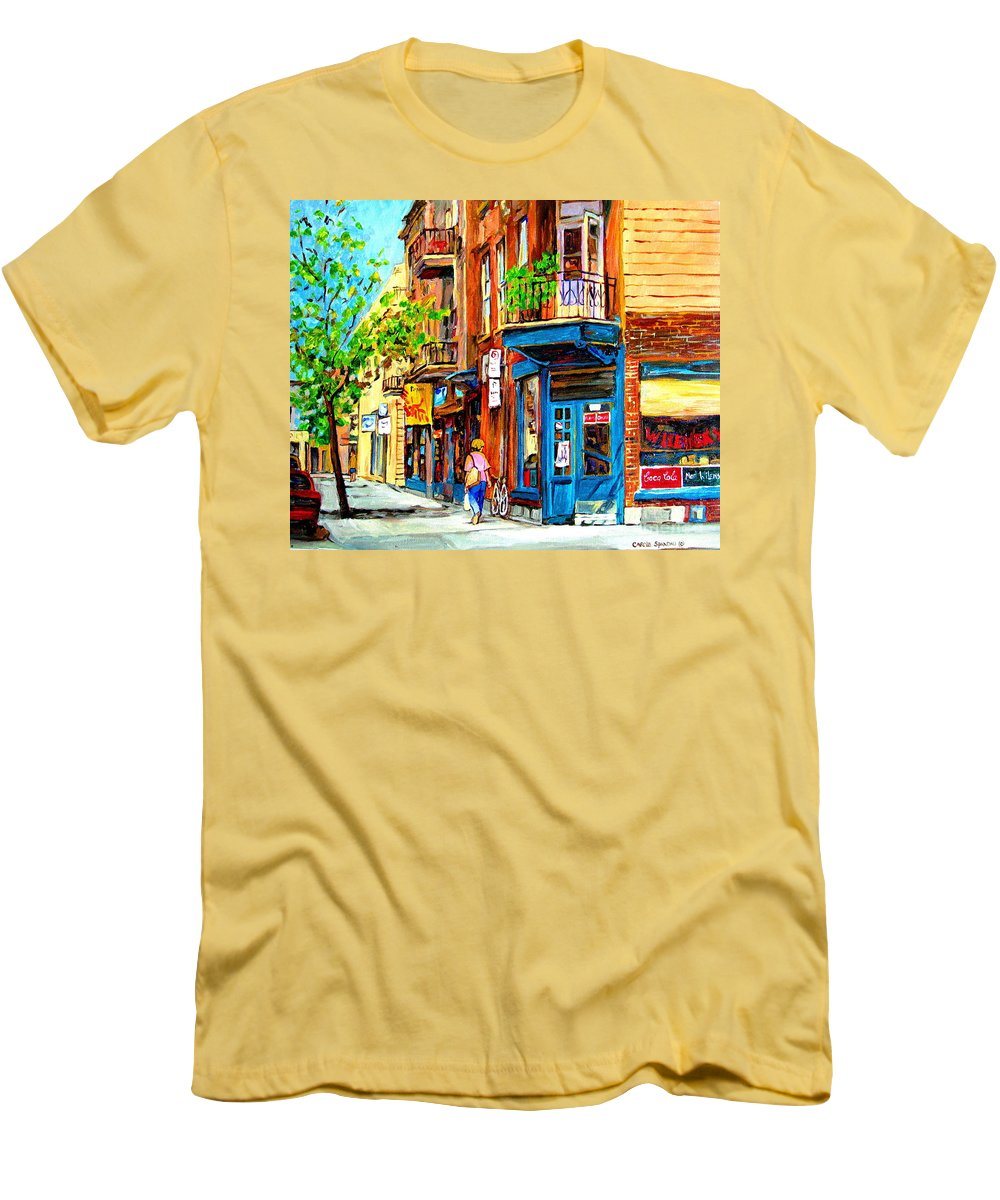Wilenskys Men's T-Shirt (Athletic Fit) featuring the painting The Lady In Pink by Carole Spandau