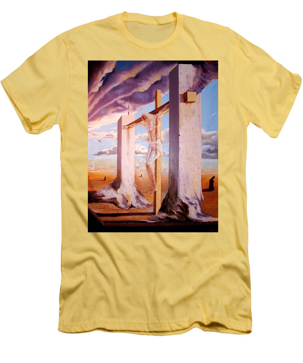 911 Men's T-Shirt (Athletic Fit) featuring the painting The Pain Holder by Darwin Leon