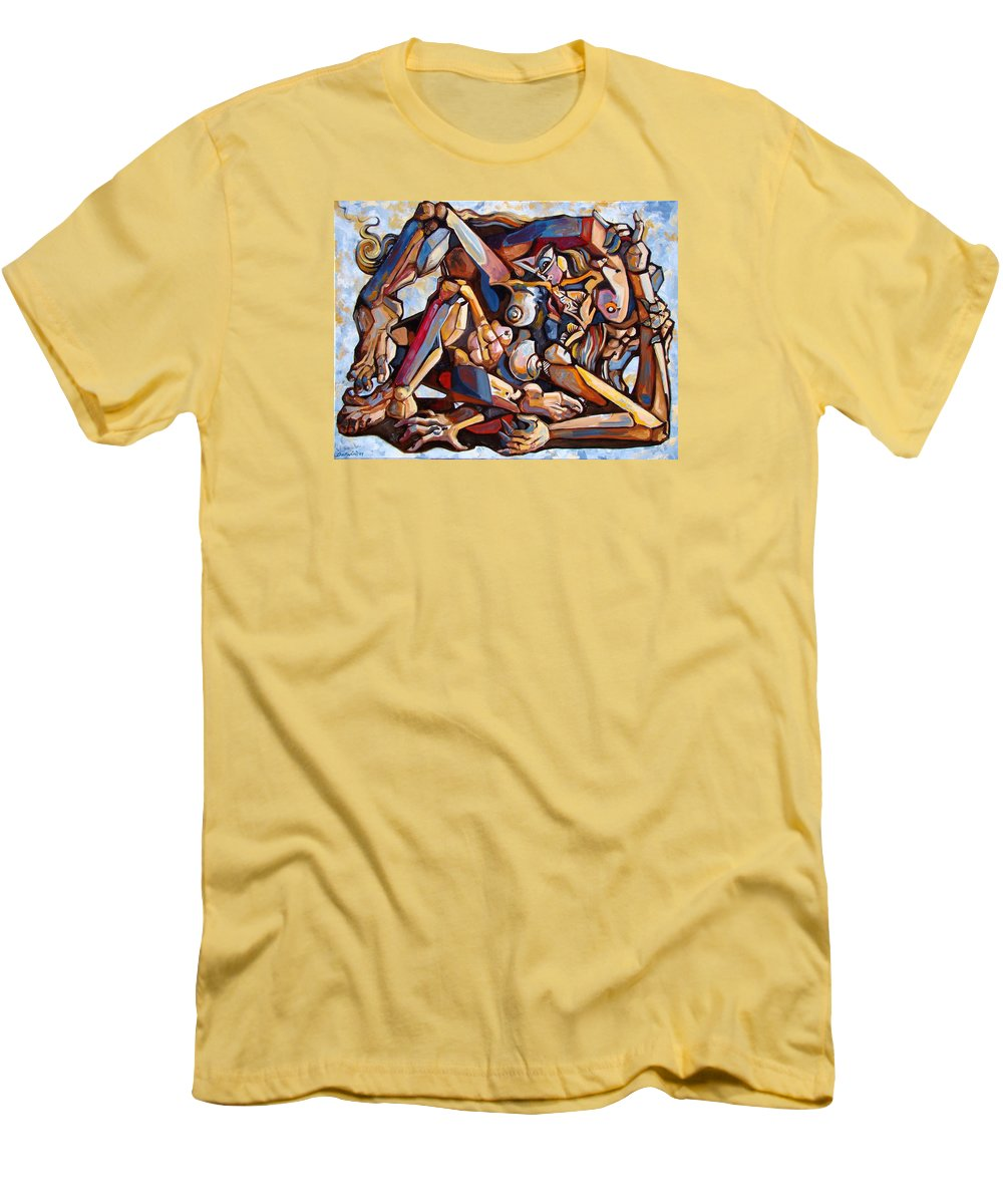 Surrealism Men's T-Shirt (Athletic Fit) featuring the painting The Rape by Darwin Leon