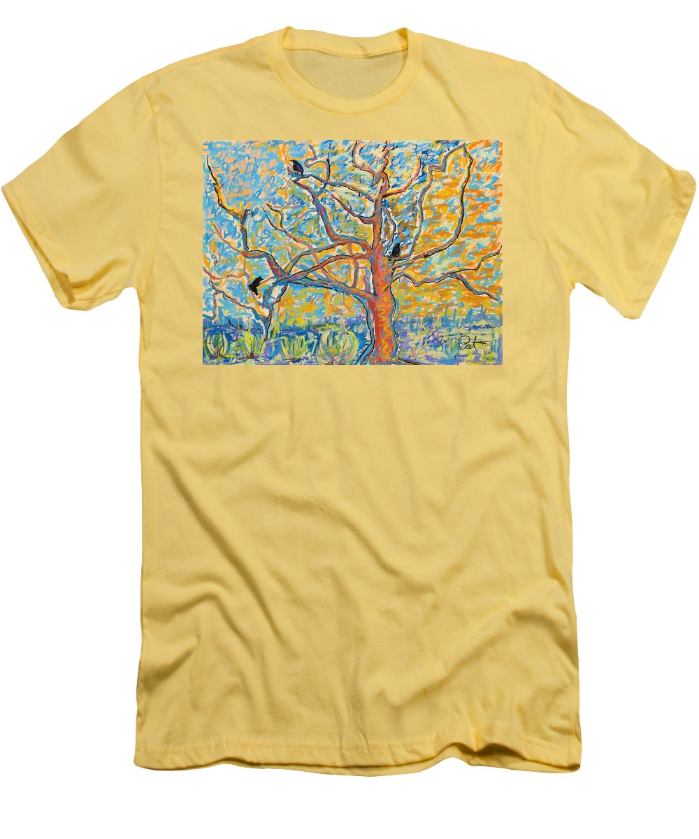 Abstract Painting Men's T-Shirt (Athletic Fit) featuring the mixed media The Wind Dancers by Pat Saunders-White
