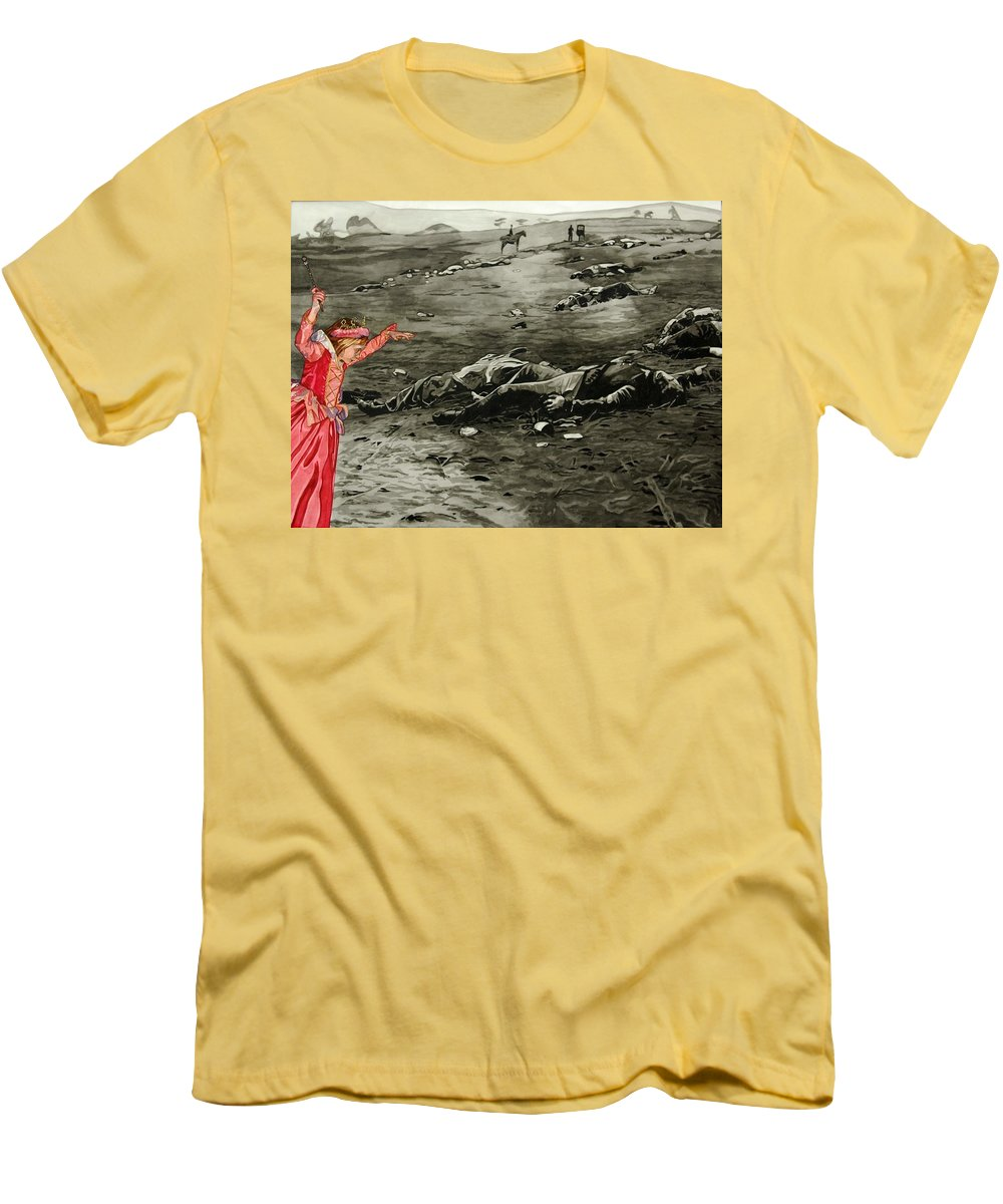War Men's T-Shirt (Athletic Fit) featuring the painting Too Late by Valerie Patterson