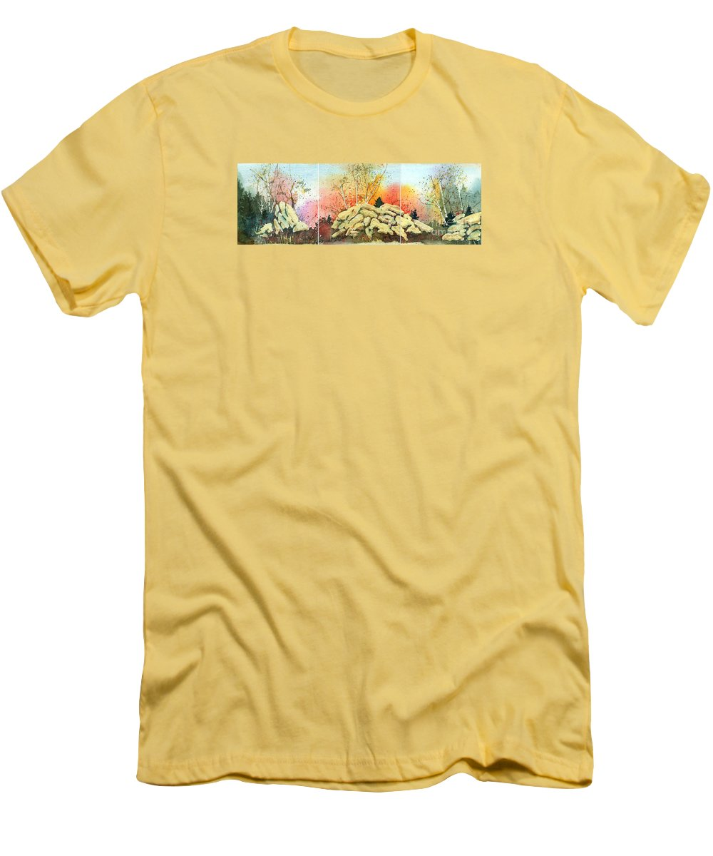 Landscape Men's T-Shirt (Athletic Fit) featuring the painting Triptych by Lynn Quinn
