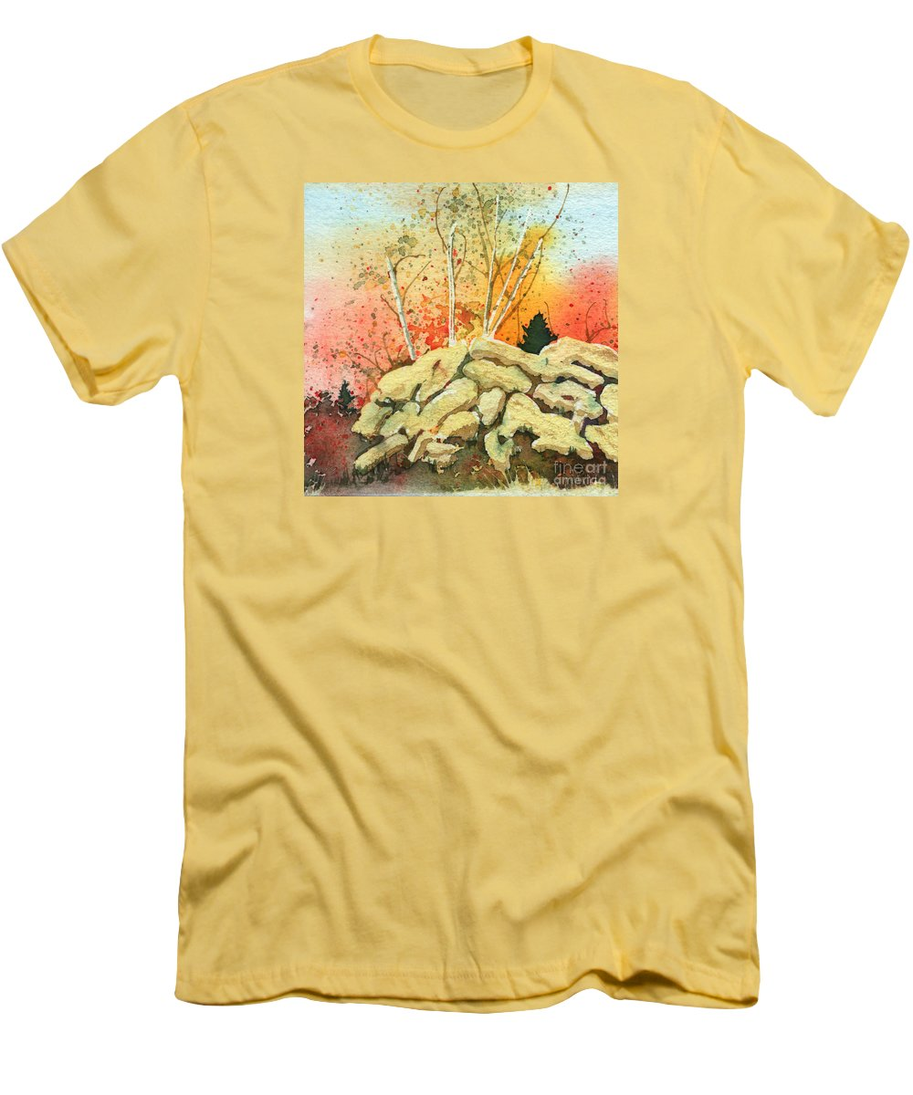 Landscape Men's T-Shirt (Athletic Fit) featuring the painting Triptych Panel 2 by Lynn Quinn