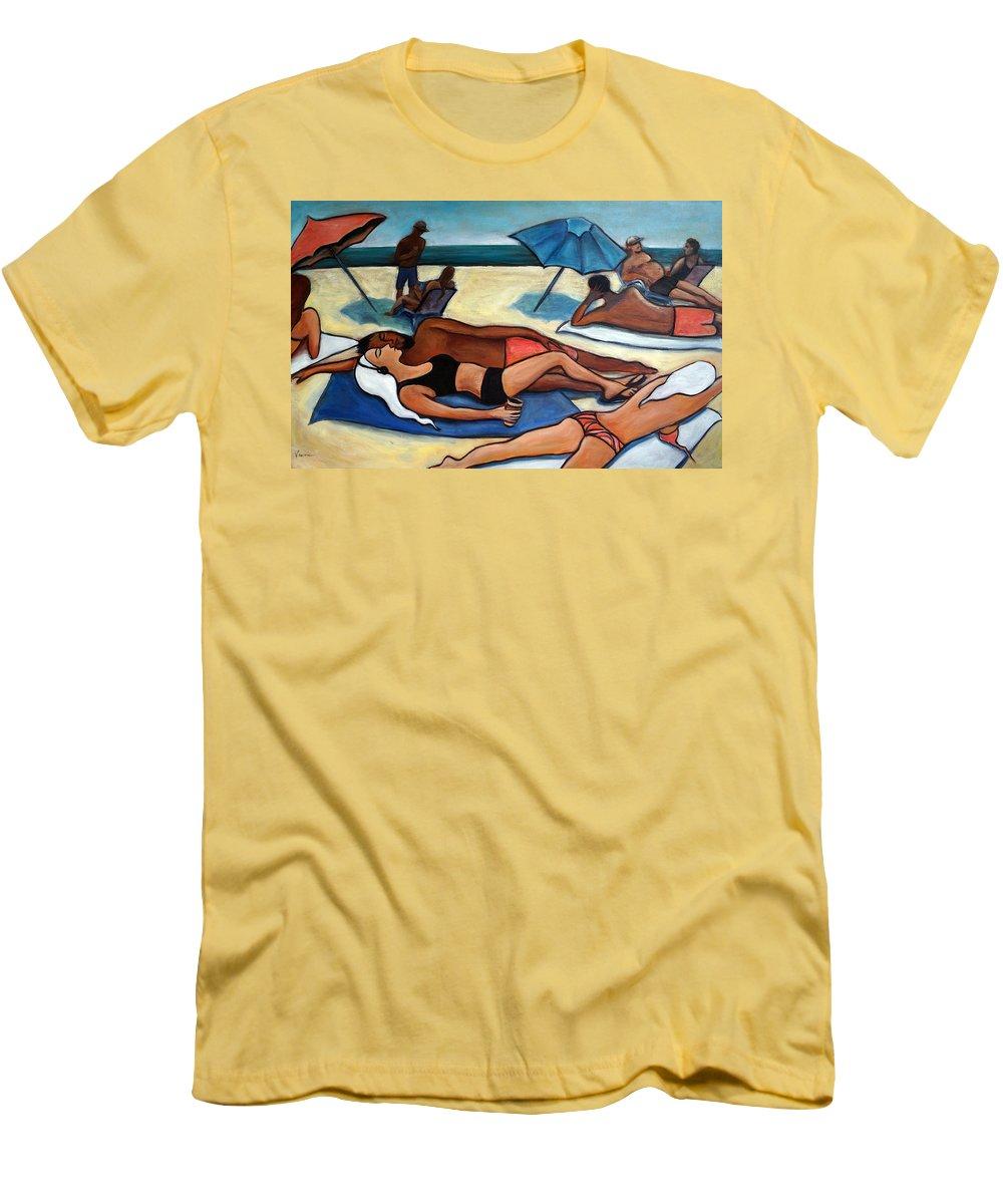 Beach Scene Men's T-Shirt (Athletic Fit) featuring the painting Un Journee A La Plage by Valerie Vescovi