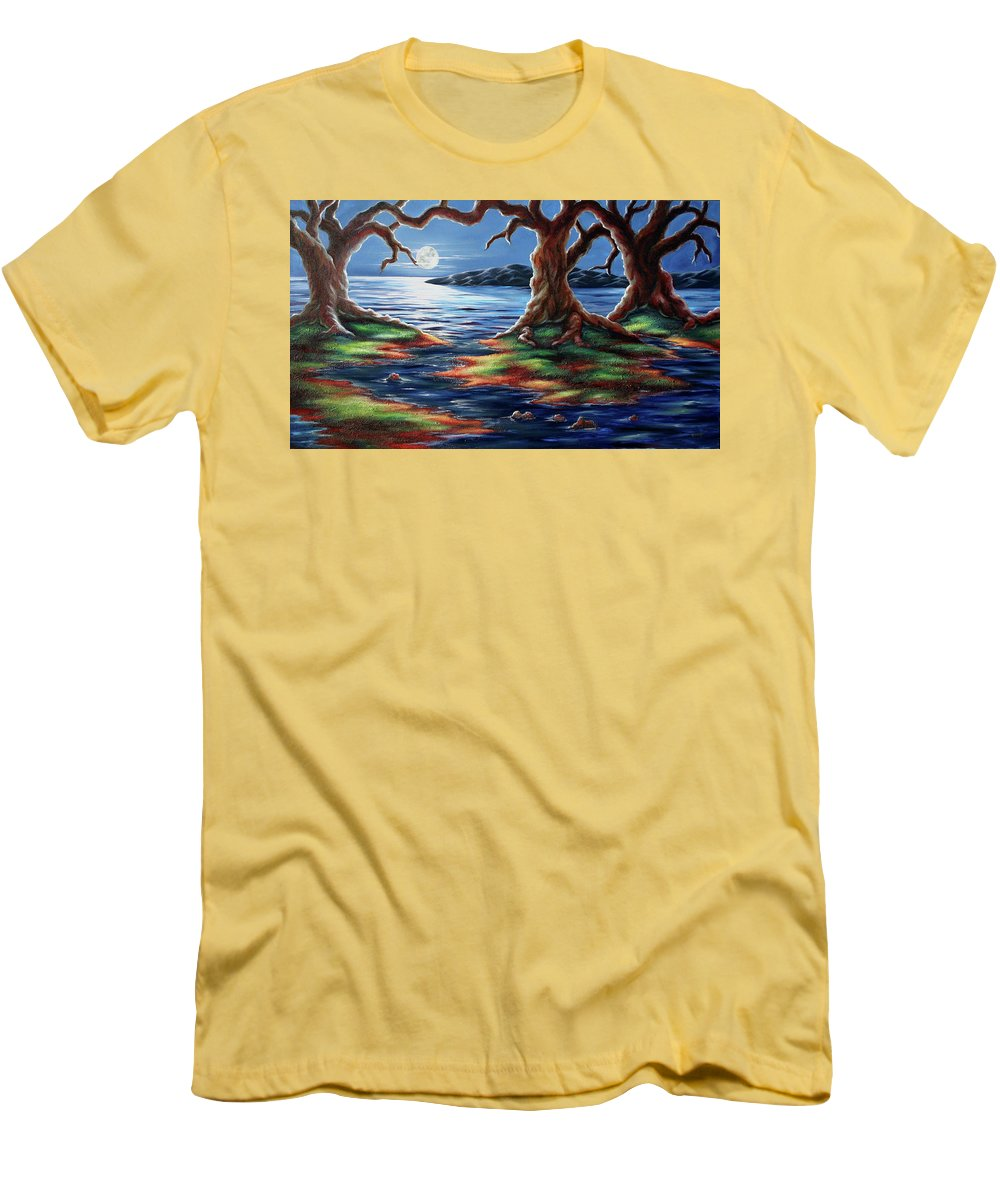 Textured Painting Men's T-Shirt (Athletic Fit) featuring the painting United Trees by Jennifer McDuffie