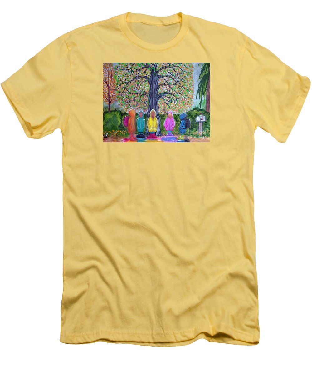Children Men's T-Shirt (Athletic Fit) featuring the painting Waiting For The Bus by Nick Gustafson