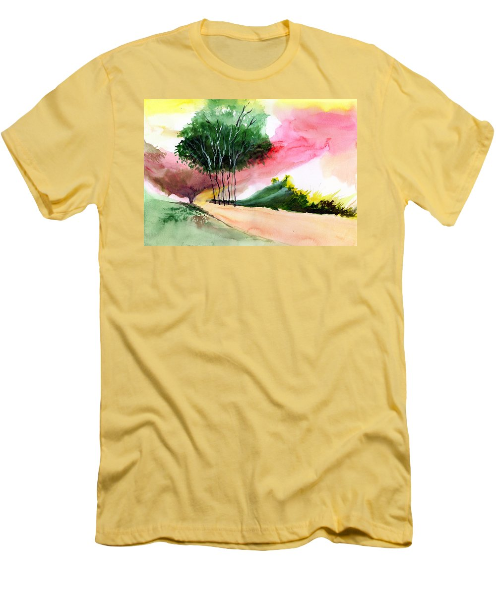 Watercolor Men's T-Shirt (Athletic Fit) featuring the painting Walk Away by Anil Nene