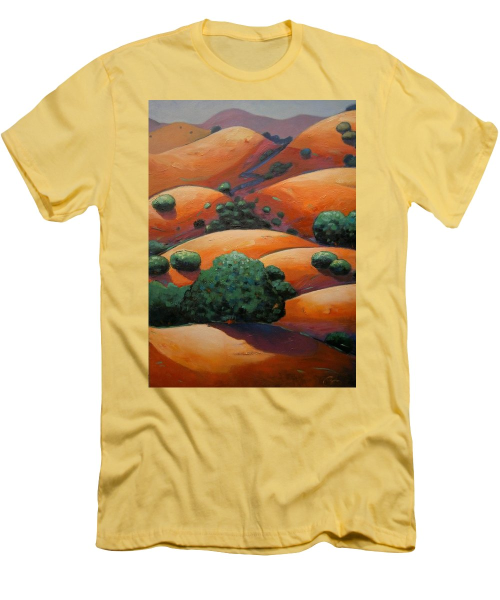 California Landscape Men's T-Shirt (Athletic Fit) featuring the painting Warm Afternoon Light On Ca Hillside by Gary Coleman