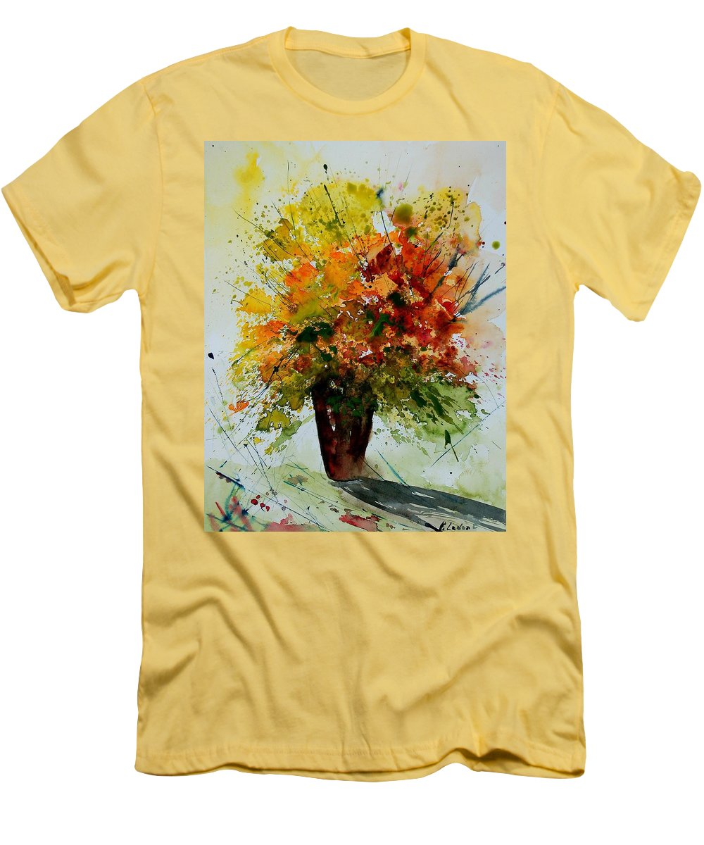 Flowers Men's T-Shirt (Athletic Fit) featuring the painting Watercolor 290806 by Pol Ledent