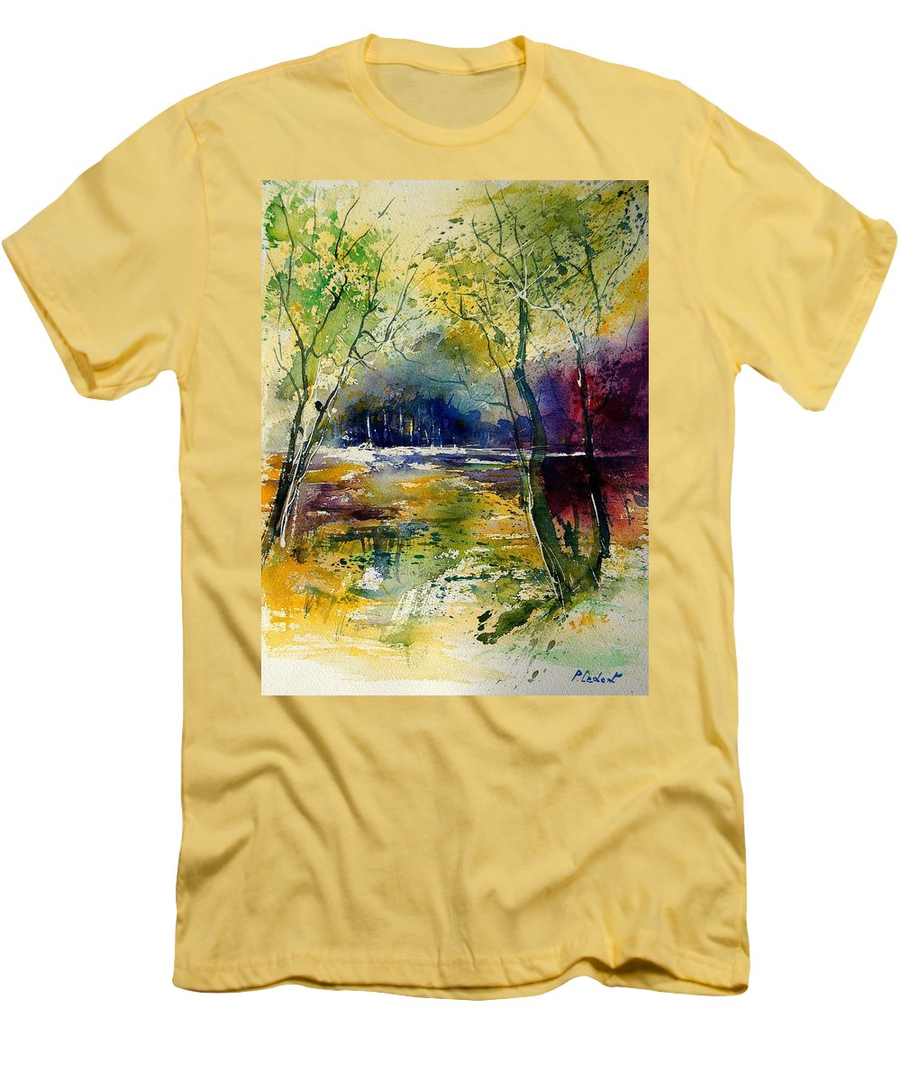 River Men's T-Shirt (Athletic Fit) featuring the painting Watercolor 908010 by Pol Ledent