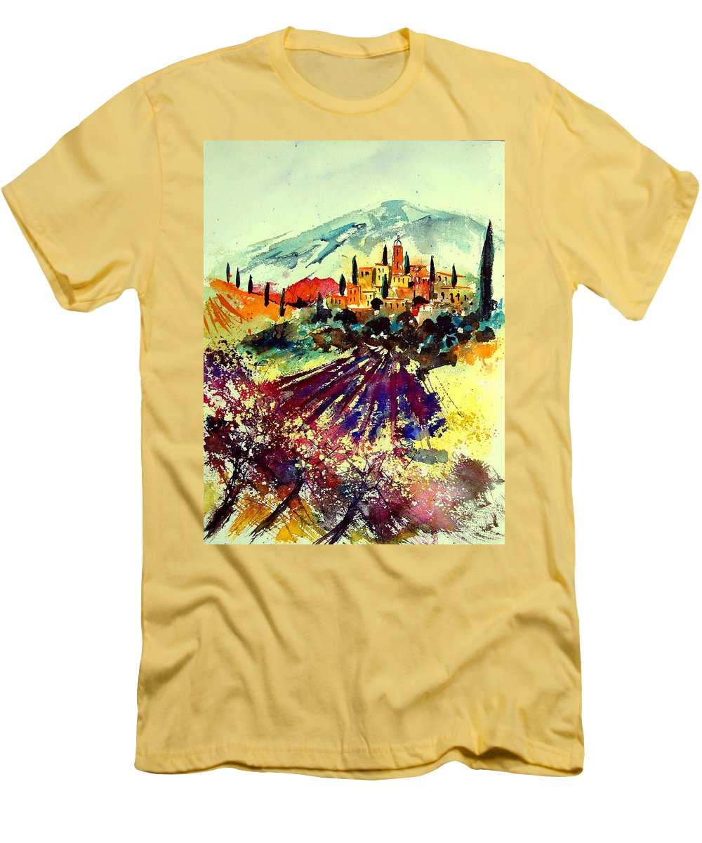 Poppies Men's T-Shirt (Athletic Fit) featuring the painting Watercolor Provence 07 by Pol Ledent