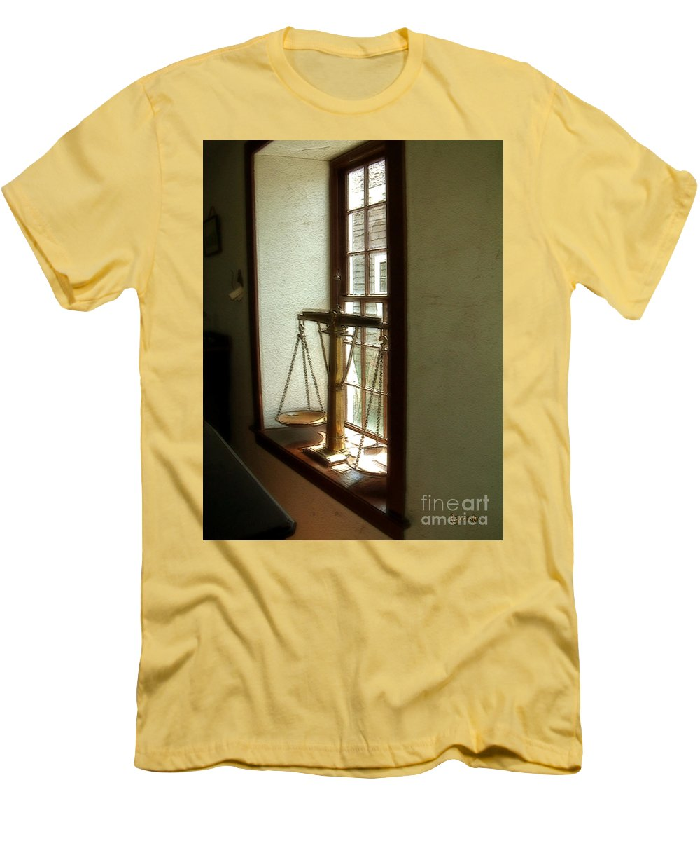 Window Men's T-Shirt (Athletic Fit) featuring the painting Where Be His Quiddits Now? by RC deWinter