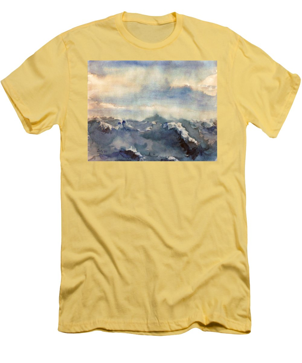 Seascape Men's T-Shirt (Athletic Fit) featuring the painting Where Sky Meets Ocean by Steve Karol