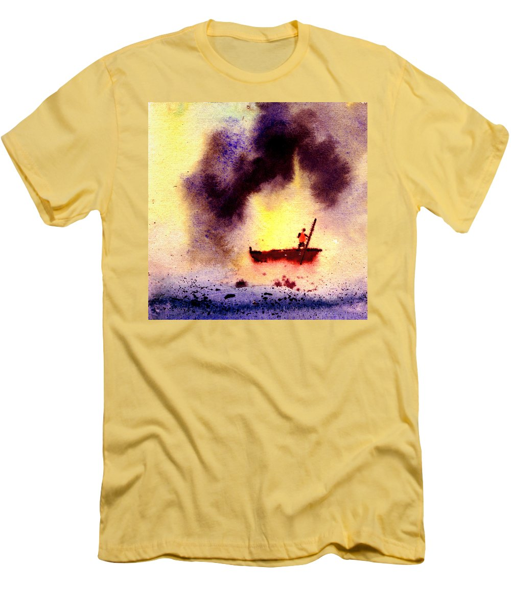 Landscape Men's T-Shirt (Athletic Fit) featuring the painting Will Power by Anil Nene