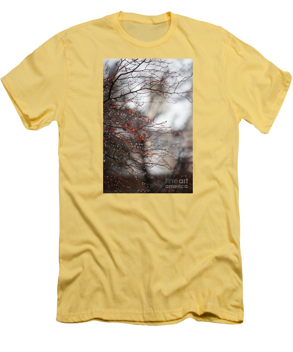 Trees Men's T-Shirt (Athletic Fit) featuring the photograph Wintry Mix by Linda Shafer