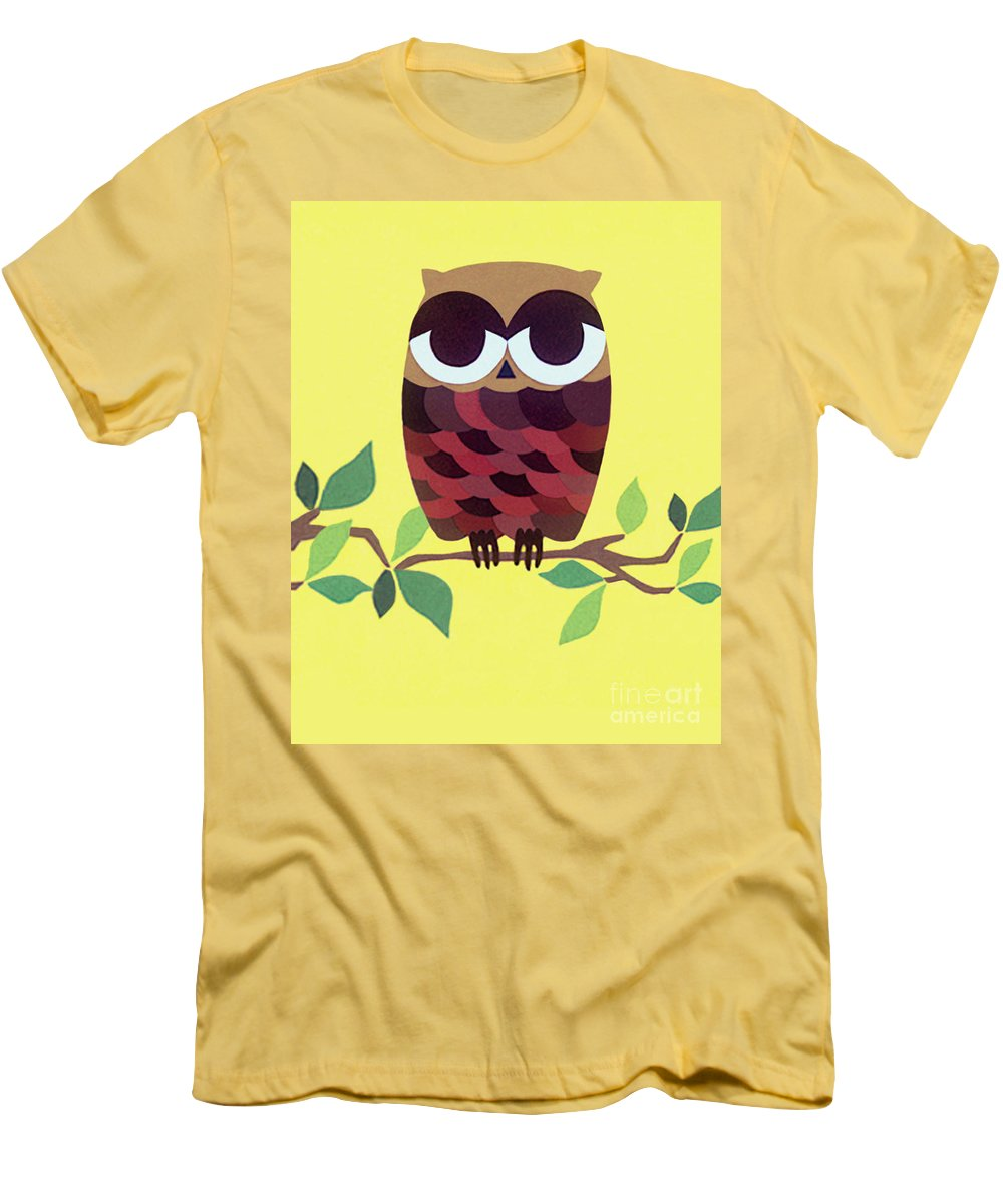 Nature Men's T-Shirt (Athletic Fit) featuring the drawing Wise Owl by Lucyna A M Green