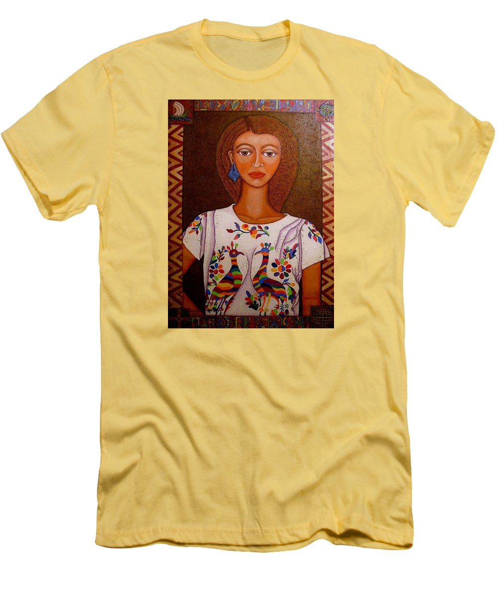 Woman Men's T-Shirt (Athletic Fit) featuring the painting Women Below And Beyond The Sea by Madalena Lobao-Tello