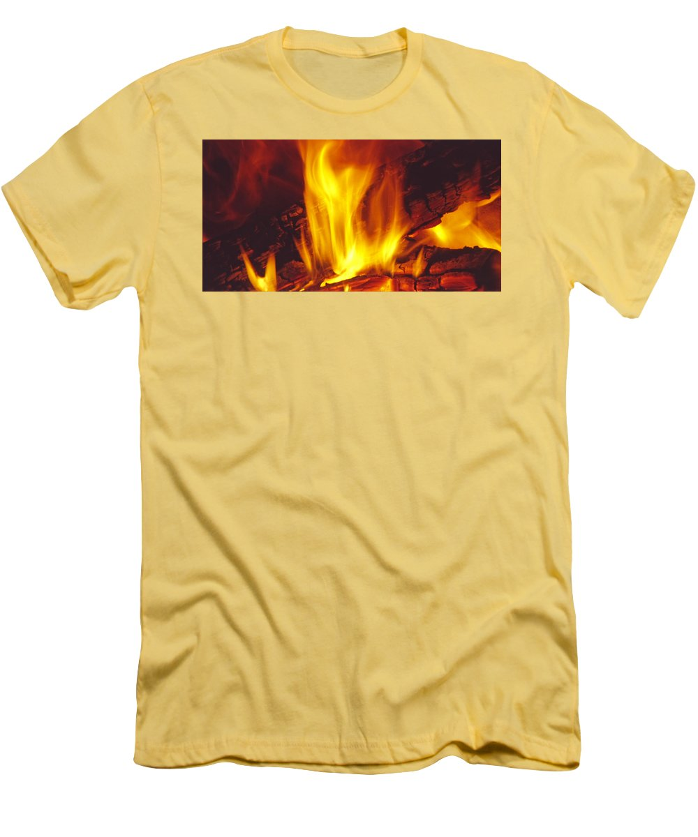 Fire Men's T-Shirt (Athletic Fit) featuring the photograph Wood Stove - Blazing Log Fire by Steve Ohlsen