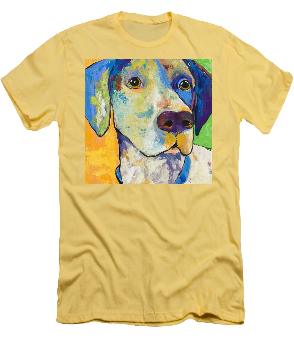 German Shorthair Animalsdog Blue Yellow Acrylic Canvas Men's T-Shirt (Athletic Fit) featuring the painting Yancy by Pat Saunders-White