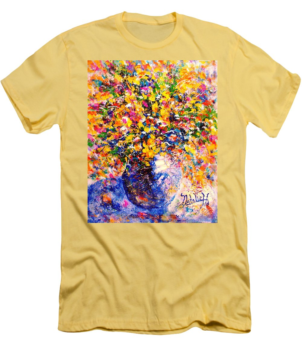 Flowers Men's T-Shirt (Athletic Fit) featuring the painting Yellow Sunshine by Natalie Holland
