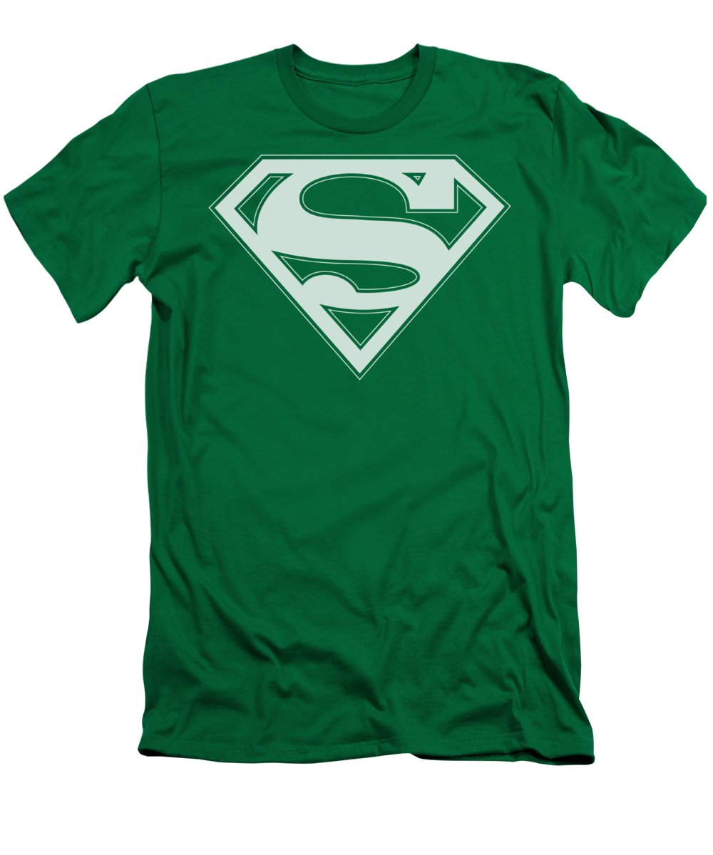 Superman T-Shirt featuring the digital art Superman - Green And White Shield by Brand A