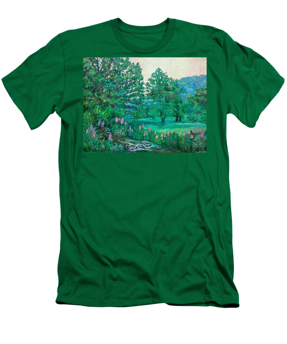 Landscape Men's T-Shirt (Athletic Fit) featuring the painting Park Road In Radford by Kendall Kessler