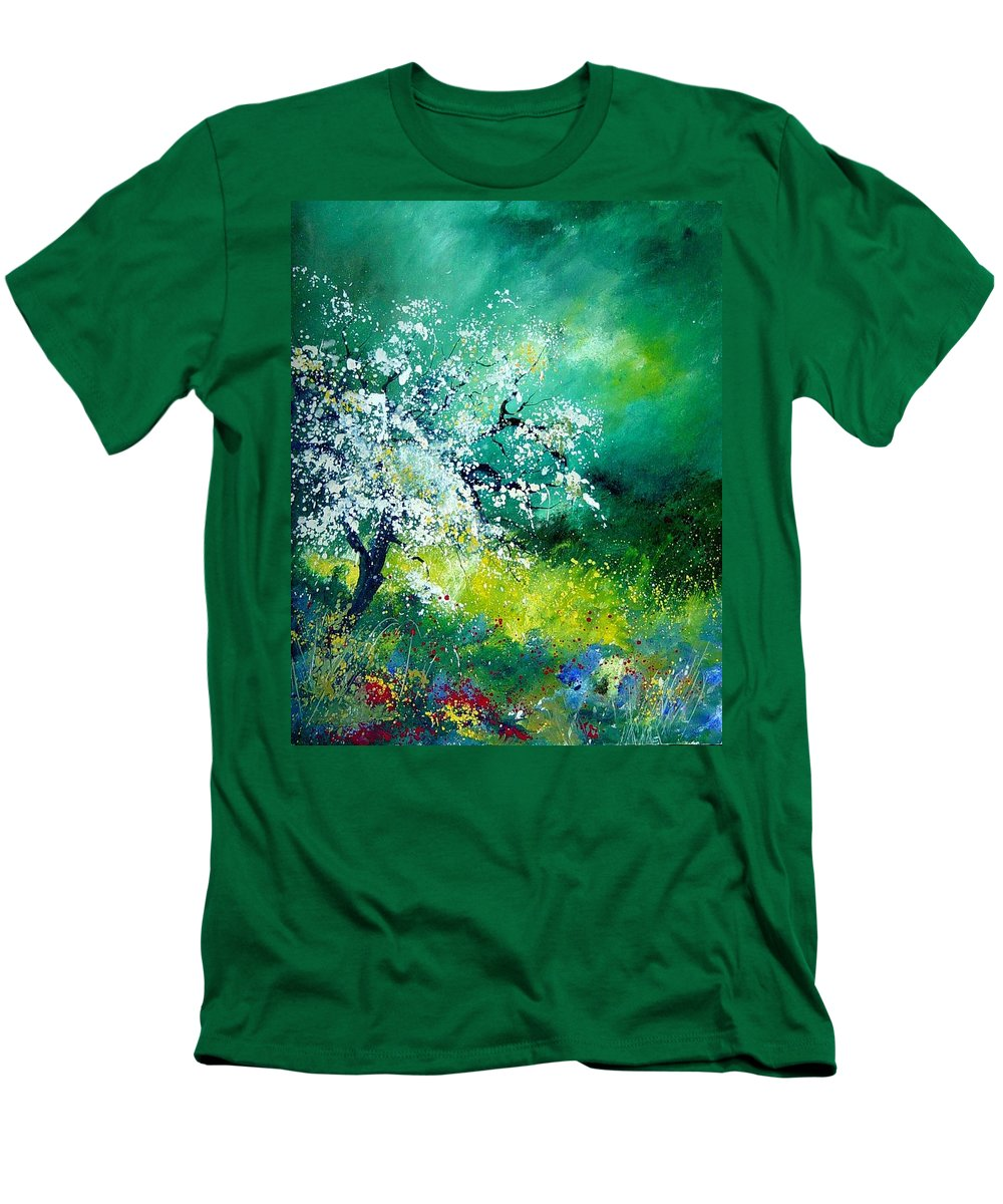 Flowers Men's T-Shirt (Athletic Fit) featuring the painting Spring by Pol Ledent