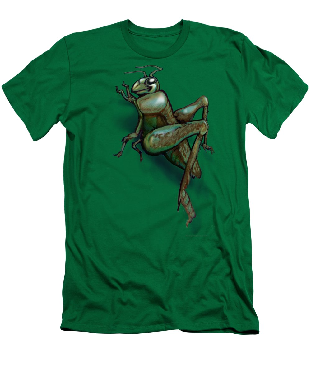 Grasshopper Men's T-Shirt (Athletic Fit) featuring the painting Grasshopper by Kevin Middleton