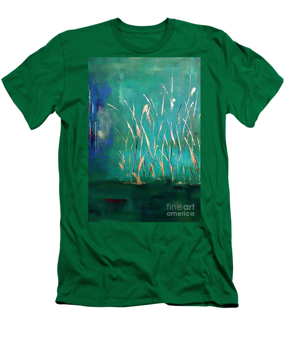 Abstract Landscape Men's T-Shirt (Athletic Fit) featuring the painting A Touch Of Teal by Frances Marino