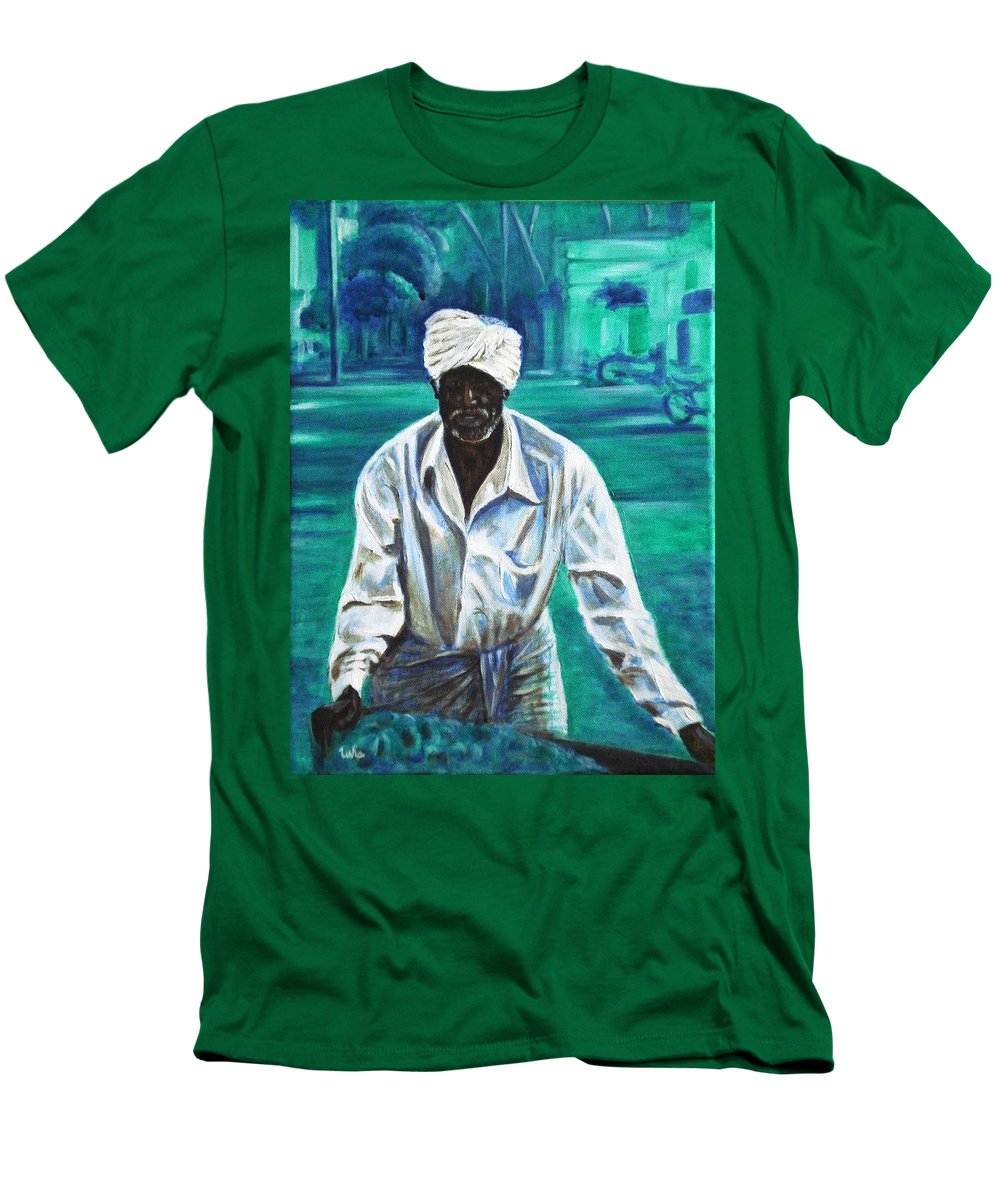 Indian Men's T-Shirt (Athletic Fit) featuring the painting Cart Vendor by Usha Shantharam