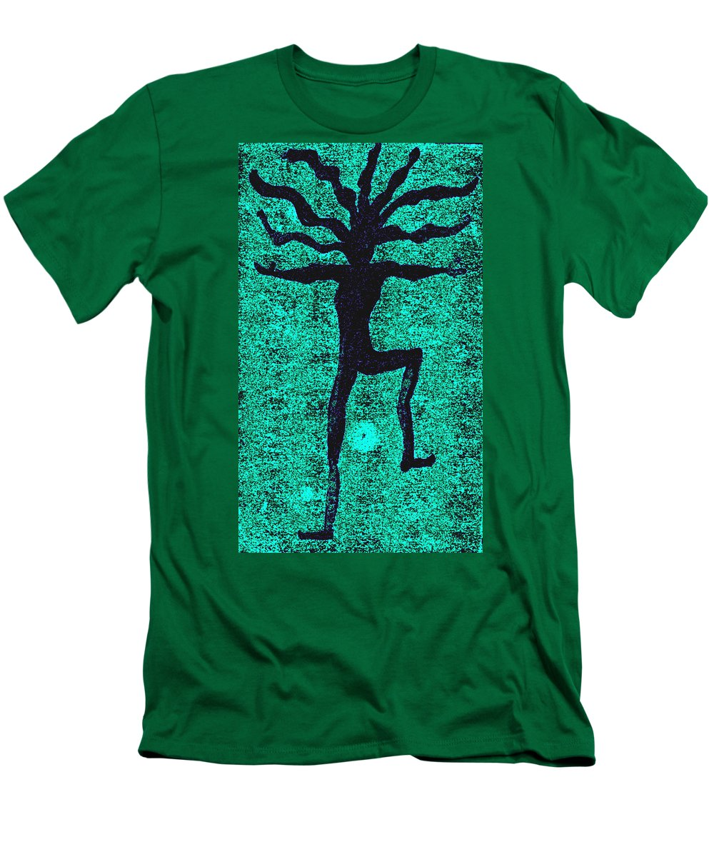 Dance Men's T-Shirt (Athletic Fit) featuring the painting Dancing At The Creation Of The Green Earth by Wayne Potrafka