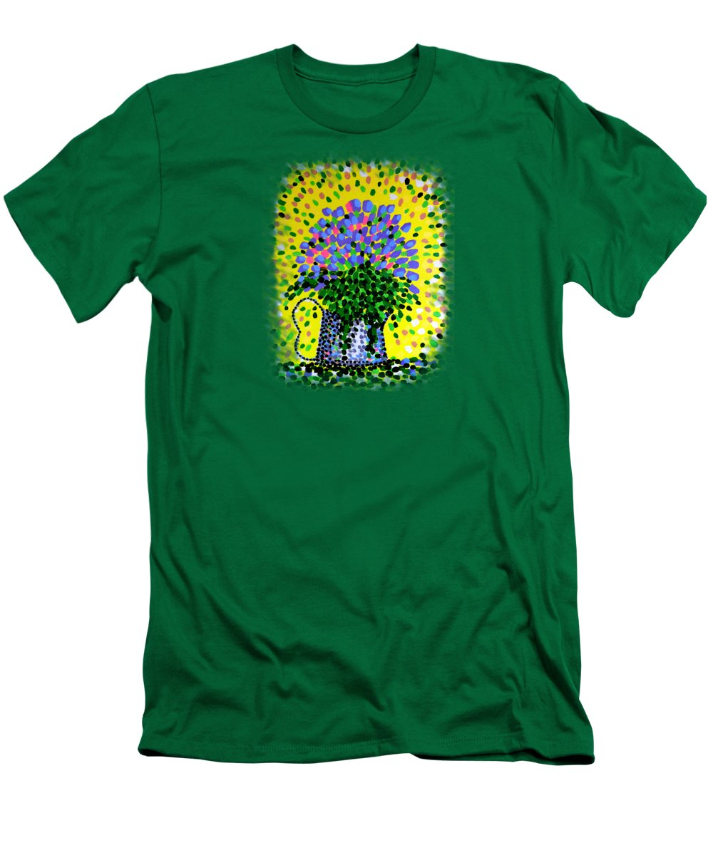 Flowers Men's T-Shirt (Athletic Fit) featuring the painting Explosive Flowers by Alan Hogan