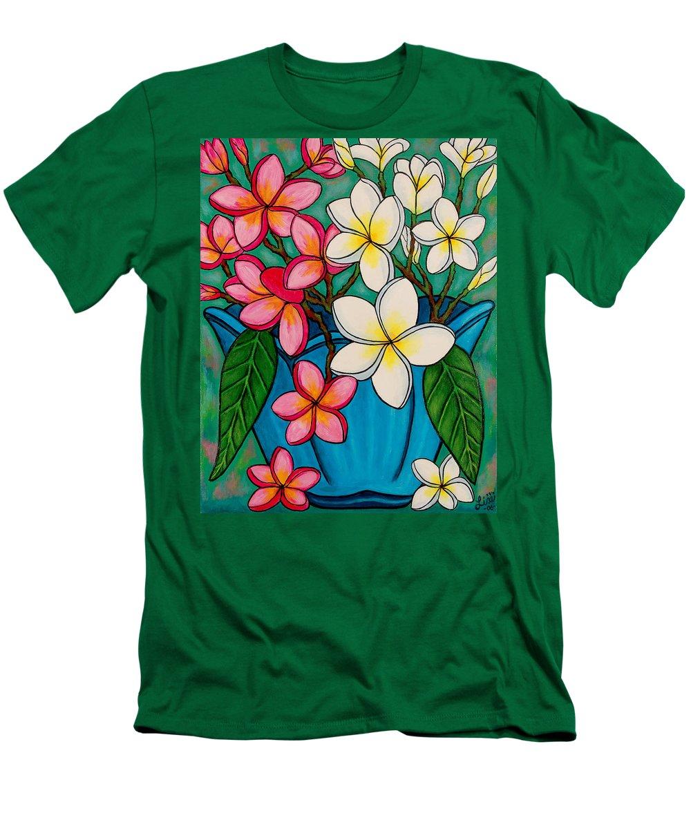 Frangipani Men's T-Shirt (Athletic Fit) featuring the painting Frangipani Sawadee by Lisa Lorenz