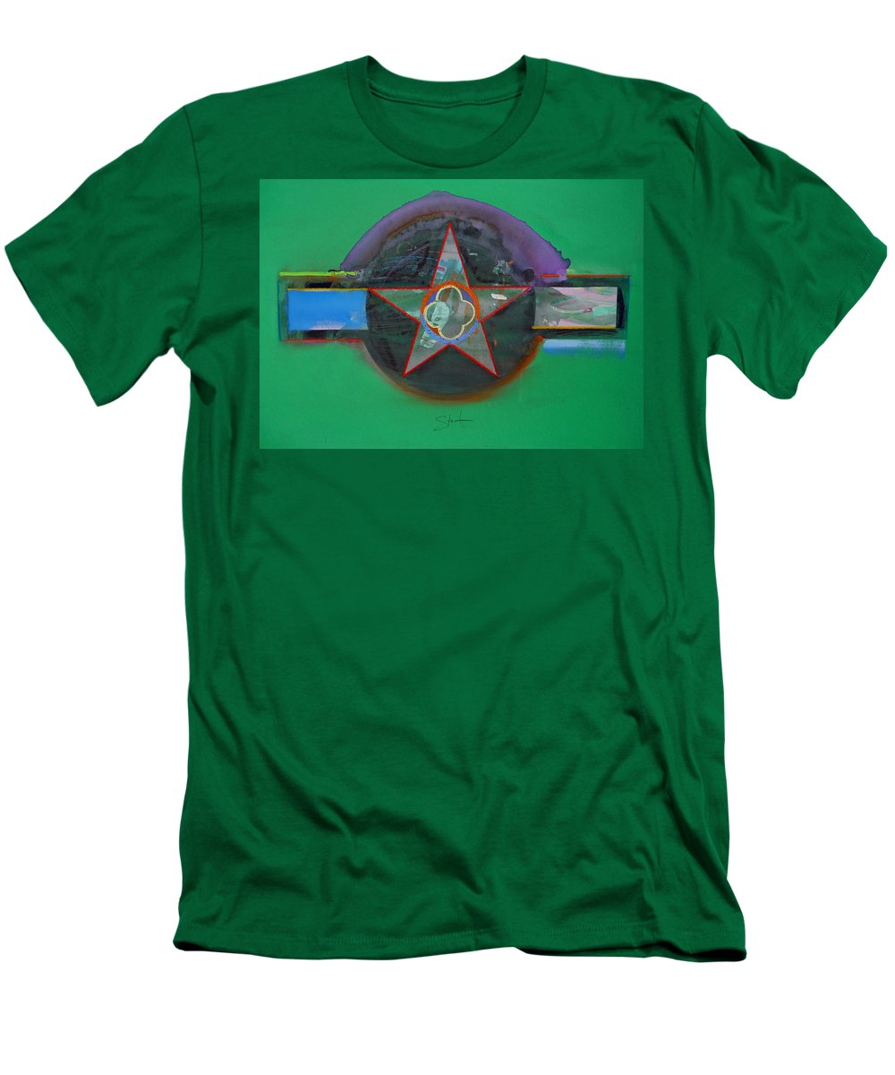 Star Men's T-Shirt (Athletic Fit) featuring the painting Green And Violet by Charles Stuart