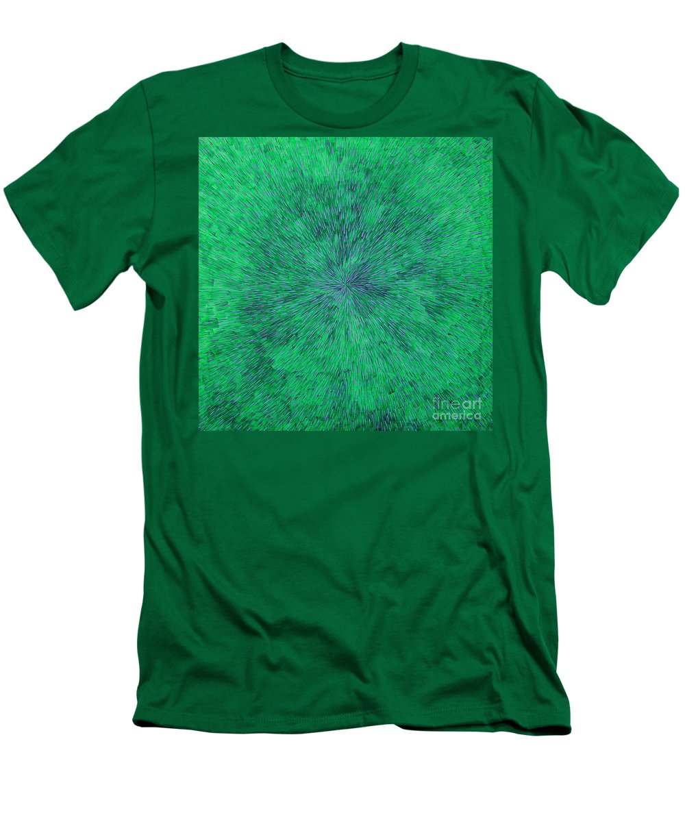 Abstract Men's T-Shirt (Athletic Fit) featuring the painting Green Radation With Violet by Dean Triolo
