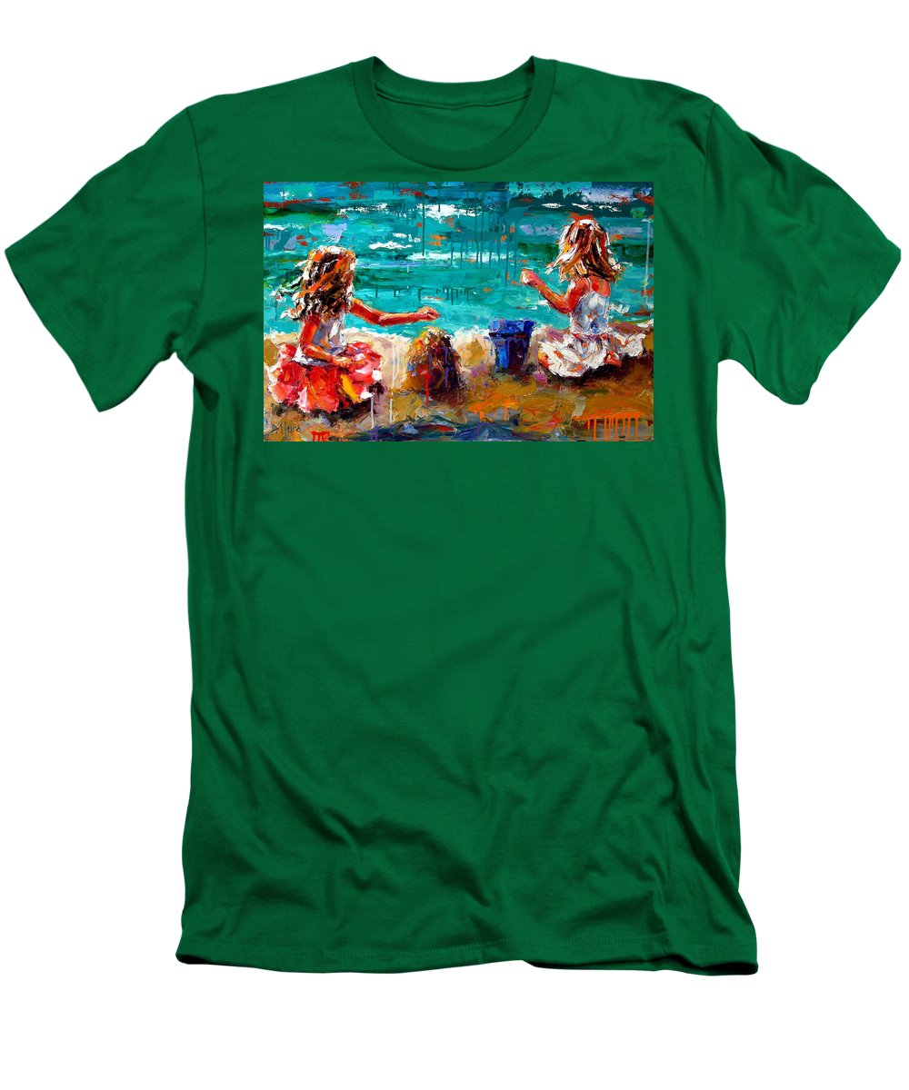 Seascape Men's T-Shirt (Athletic Fit) featuring the painting Her Blue Bucket by Debra Hurd