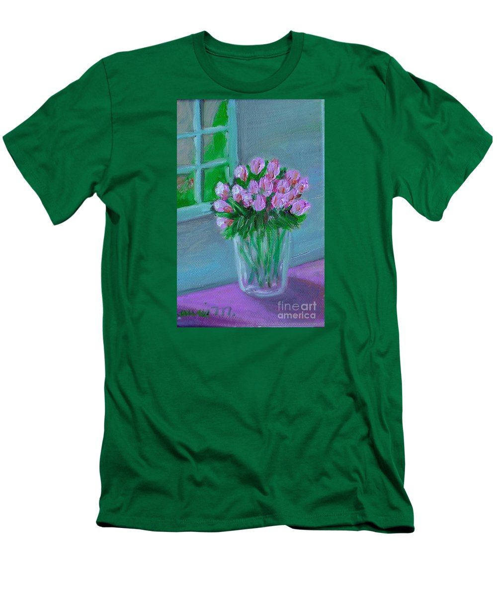 Rose Men's T-Shirt (Athletic Fit) featuring the painting Leslie's Roses by Laurie Morgan
