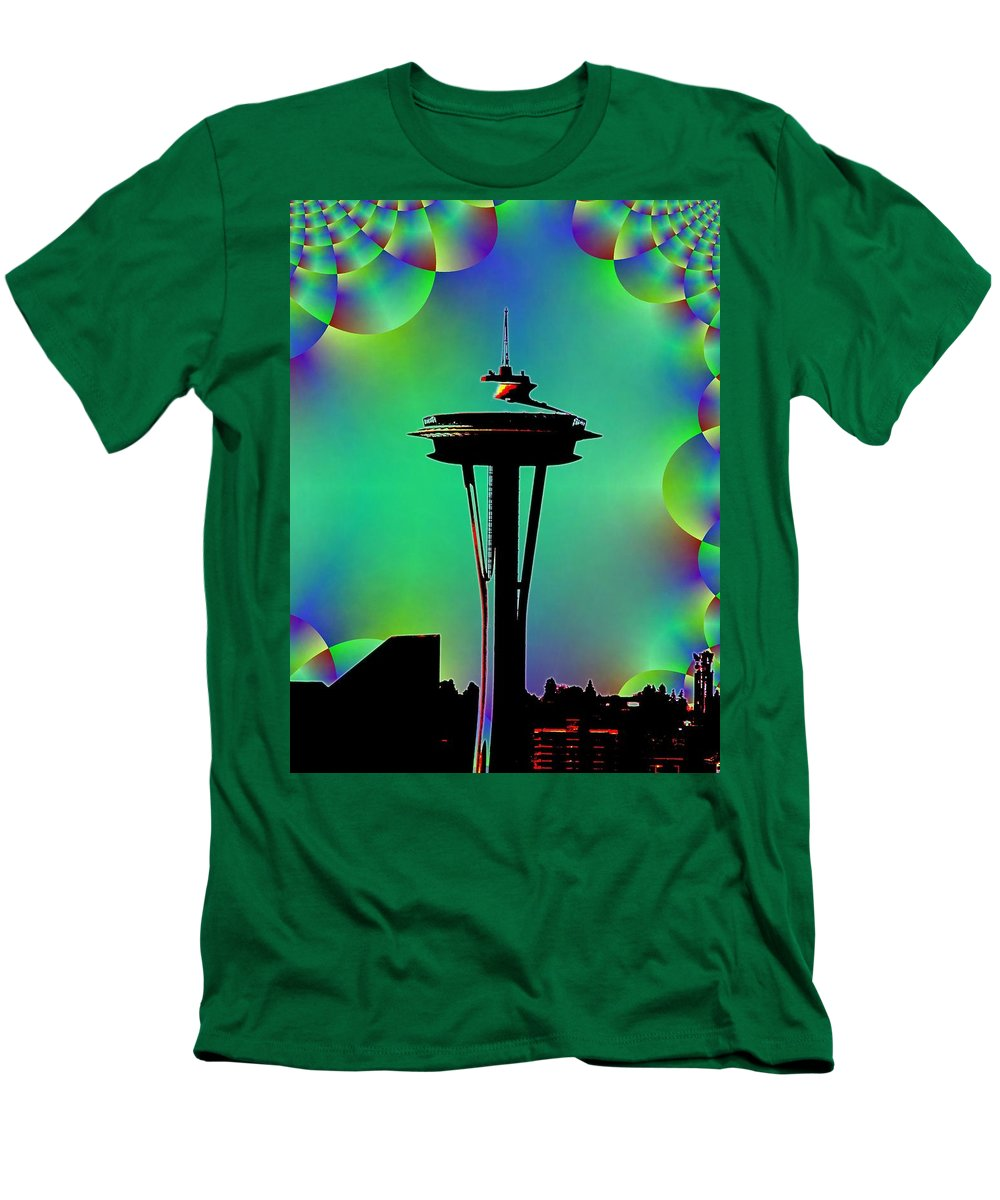 Seattle Men's T-Shirt (Athletic Fit) featuring the digital art Needle In Fractal 3 by Tim Allen
