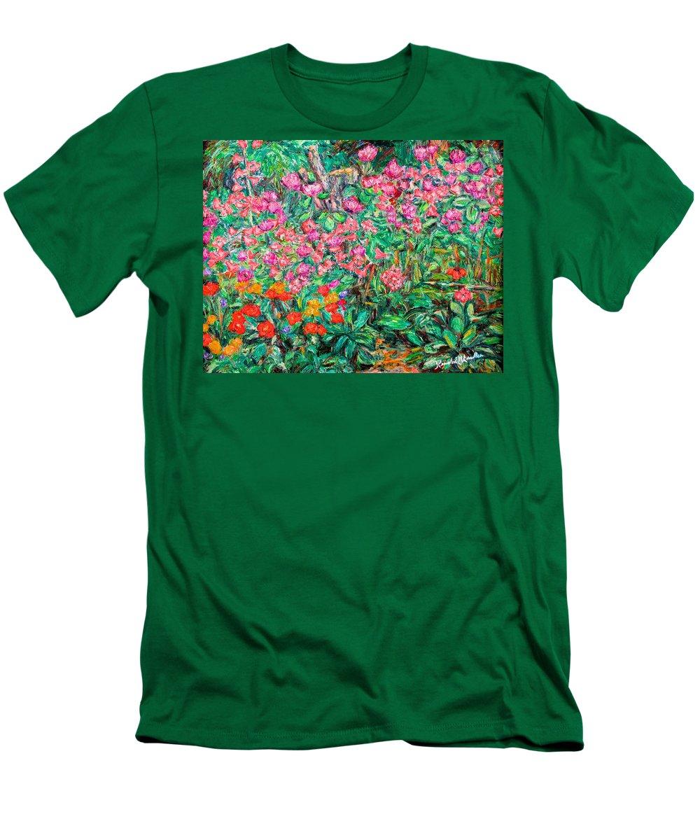 Kendall Kessler Men's T-Shirt (Athletic Fit) featuring the painting Radford Flower Garden by Kendall Kessler