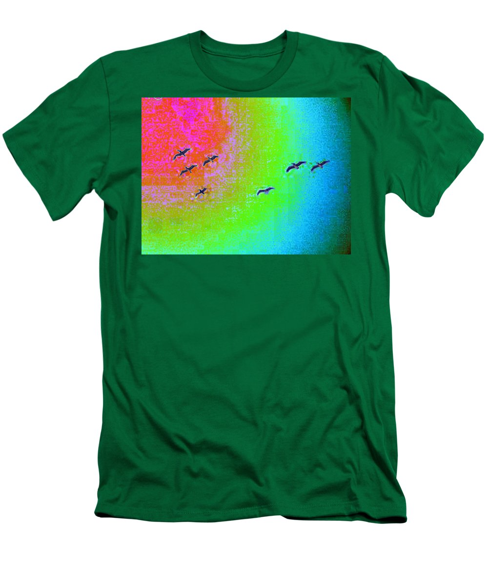 Birds Men's T-Shirt (Athletic Fit) featuring the photograph Rainbow Gulls by Tim Allen