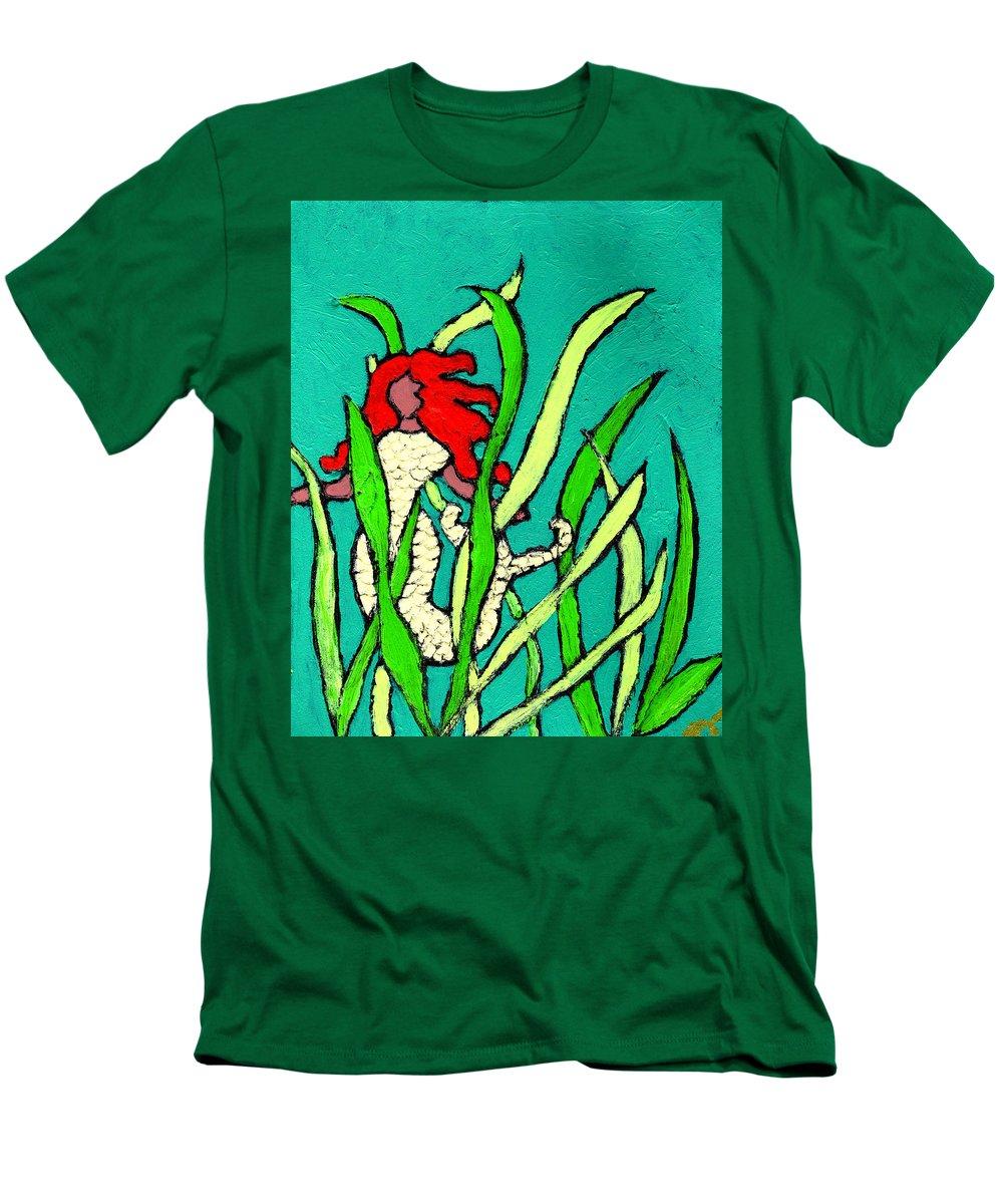 Mermaid Men's T-Shirt (Athletic Fit) featuring the painting Red Head Mermaid by Wayne Potrafka